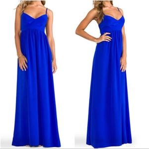 Amanda Uprichard Silk Maxi Gown Royal Blue